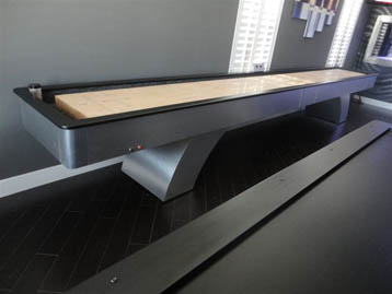brushed aluminum shuffle board table