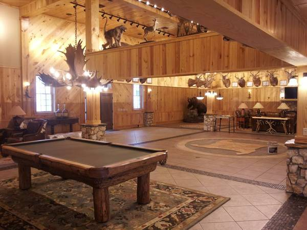 lodge pole pool table room