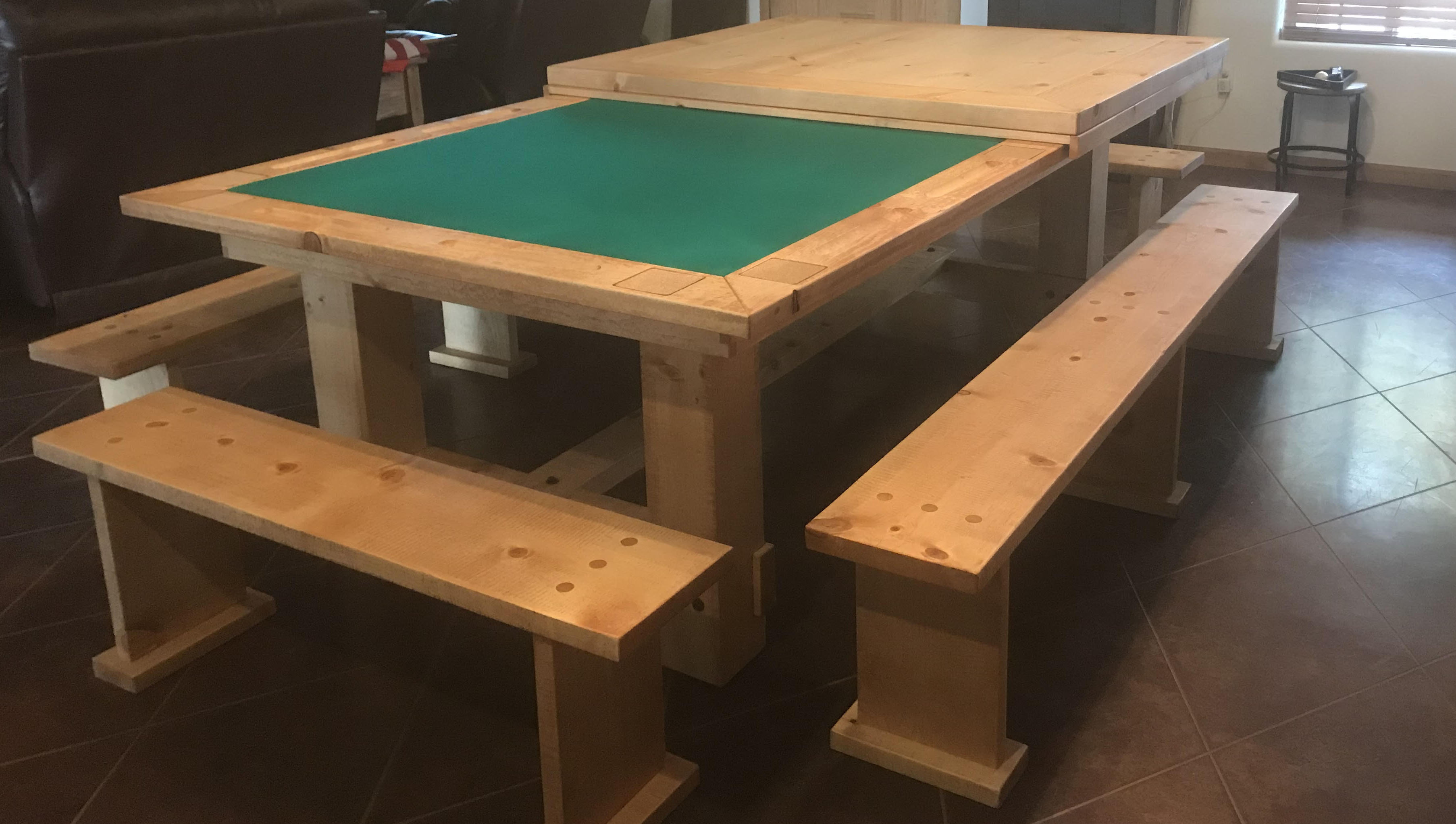 hand made custom poker top for a pool table