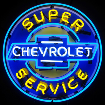 Super Chevy Neon Sign With Backing