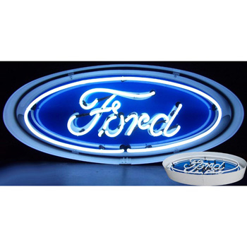 Ford Oval Neon Sign in a Metal Can