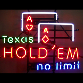 Texas Hold'em No Limit Neon Sign