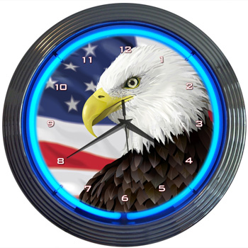 Eagle with American Flag Neon Clock