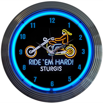 Motorcycle Ride'em Hard Sturgis Neon Clock