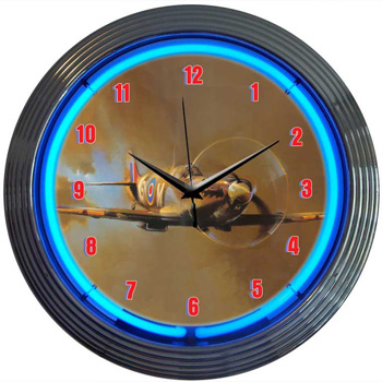 Spit Fire WWII Airplane Neon Clock