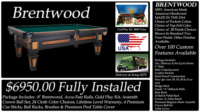 brentwood pool table